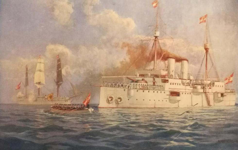 """S.M.S.  KAISERIN ELISABETH INCROCIATORE DELLA MARINA AUSTROUNGARICA  (quadro di Alexander Kircher   """" incrociatore Kaiserin  Elisabeth e corvetta Fasana 1893)"""