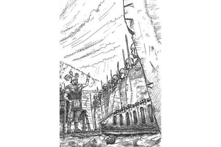 Campo militare romano (disegno di Guido Zanettini)...